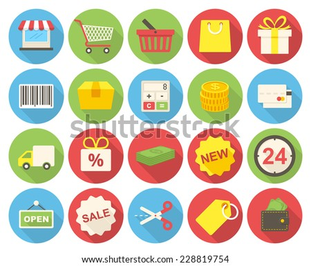 Shopping icons set (flat design with long shadows) - stock vector
