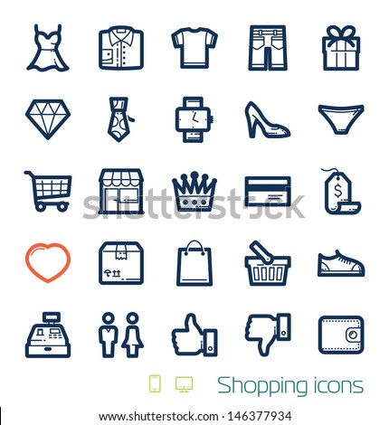 Shopping icons set Perfect lines - stock vector