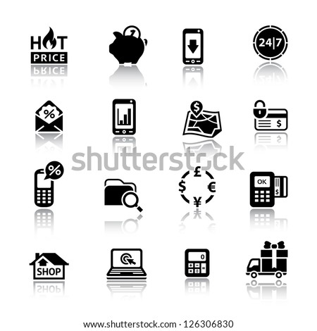 Shopping Icons. Set symbols black with reflection. Vector web design elements