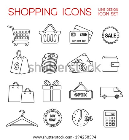 Shopping icons - thin line vector collection. - stock vector