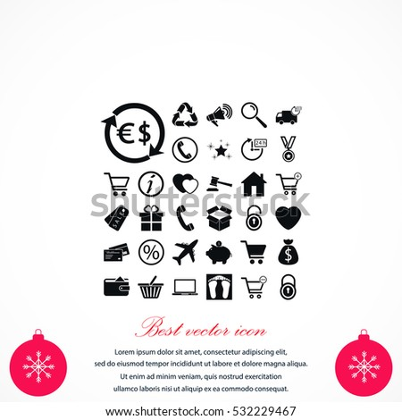 Shopping icons vector, flat design best vector icon