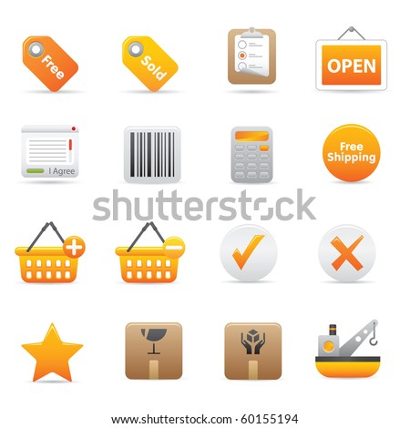 Shopping Icons, Yellow14 Professional icons for your website, application, or presentation - stock vector