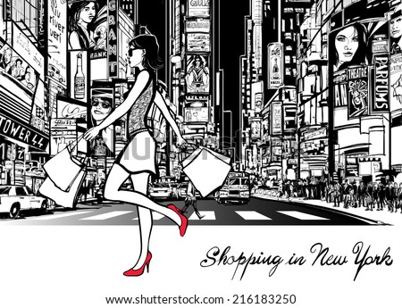 Shopping in Times Square - New York - at night - Vector illustration (all ads are imaginary) - stock vector