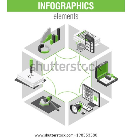 Shopping infographics set, ISOMETRY style design - stock vector