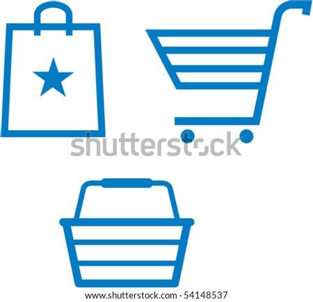 Shopping items â?? shopping cart, shopping bag and shopping basket - vector illustration - stock vector