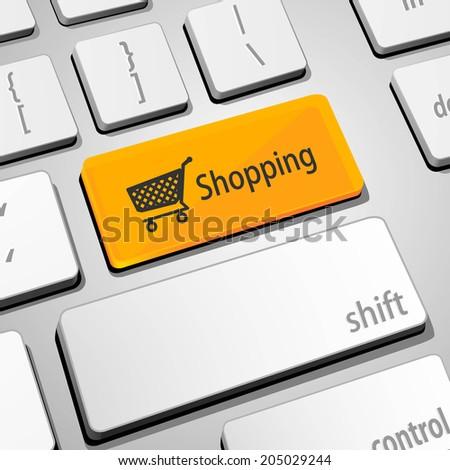 shopping keyboard - stock vector