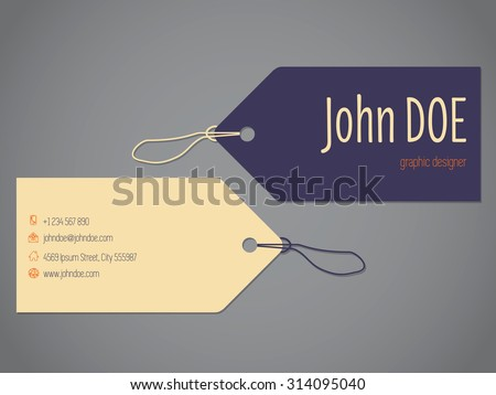 Shopping label business card design with rope - stock vector