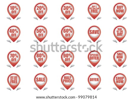 Shopping Label Icons - stock vector