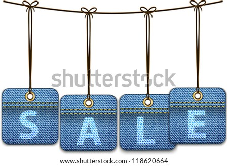 Shopping labels made of jeans. Price tags. Vector illustration - stock vector
