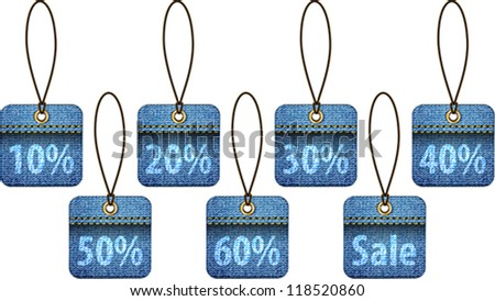 Shopping labels made of jeans. Square price tags. Vector illustration - stock vector