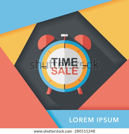 shopping limit sale flat icon with long shadow,eps10 - stock vector