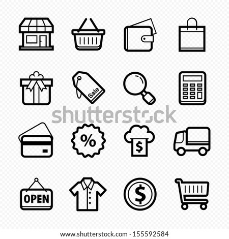 Shopping line icons on white background, Vector illustration