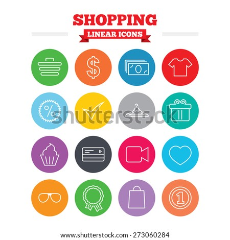 Shopping linear icons set. Shopping cart, dollar currency and cash money. Shirt clothes, gift box and hanger. Credit or debit card. Thin outline signs. Flat circles vector - stock vector