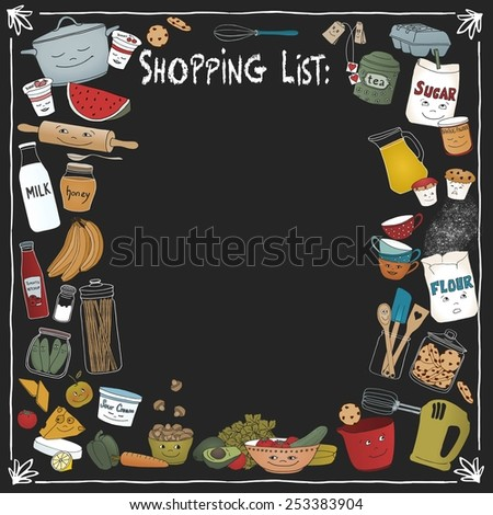 Shopping list on a black board with different food items and cooking utensils - stock vector