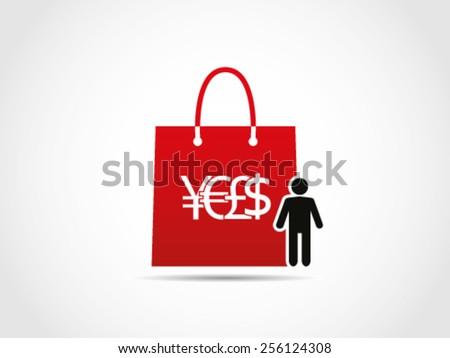 Shopping Men Stuff Item - stock vector