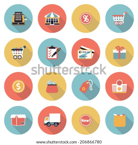 Shopping modern flat color icons. - stock vector