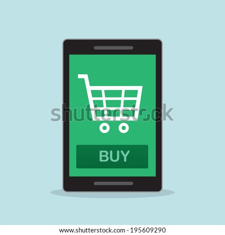 Shopping on cell phone with buy button   - stock vector