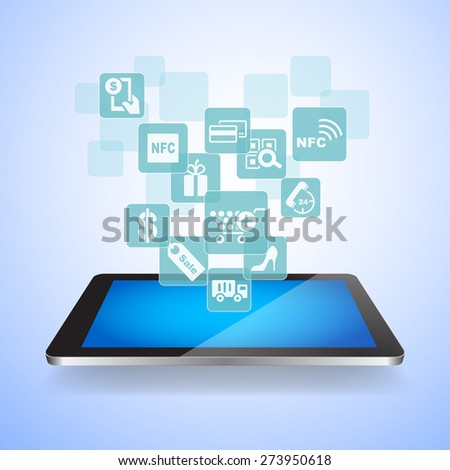shopping on line concept - shopping icon with digital tablet pc - stock vector