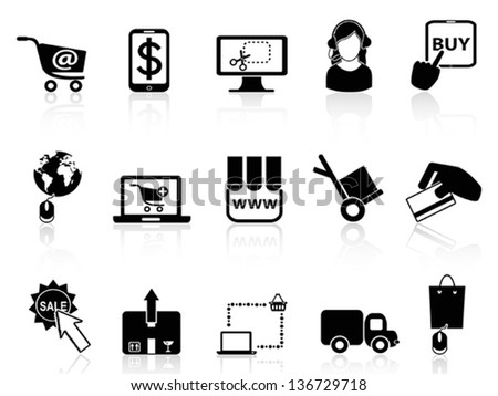 shopping on-line icons - stock vector