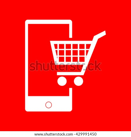 Shopping on smart phone sign - stock vector