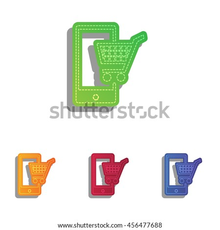 Shopping on smart phone sign. Colorfull applique icons set. - stock vector