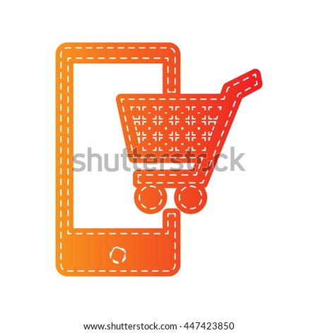 Shopping on smart phone sign. Orange applique isolated. - stock vector