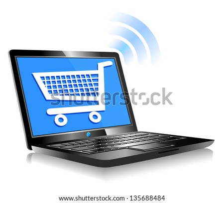 Shopping on the Internet - Concept icon computer shopping on the web - stock vector