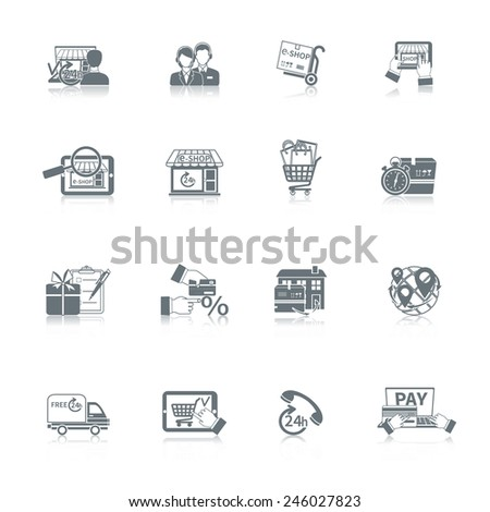 Shopping online e-commerce express delivery icon black set isolated vector illustration