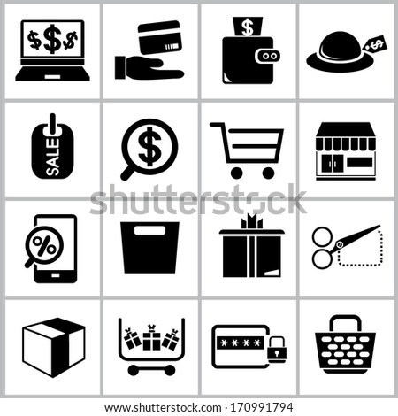 shopping online icons, e commerce icons set
