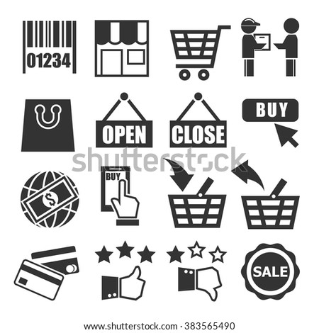 shopping, online market icon set
