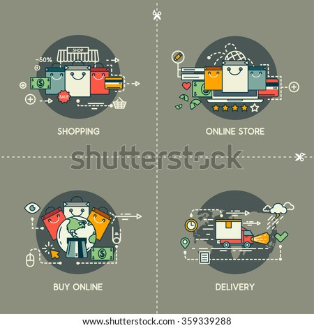 Shopping, online store, buy online, delivery - stock vector