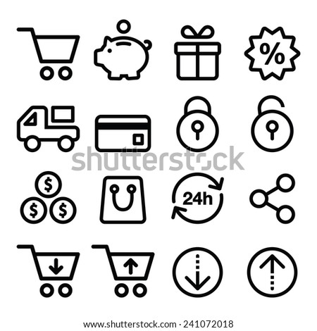 Shopping, online store icons set- line, stroke style  - stock vector