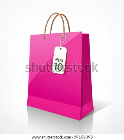 Shopping paper bag pink empty, vector illustration - stock vector