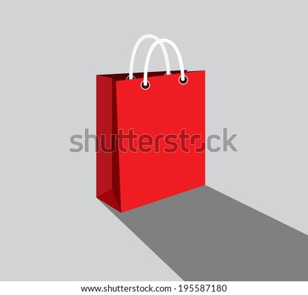 Shopping paper red bag empty, vector illustration  - stock vector