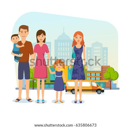 Shopping People Concept Young Family For At The Mall Got Out Of