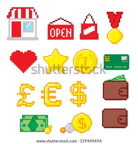 Shopping pixel icons set. Pixel art. Old school computer graphic style. - stock vector