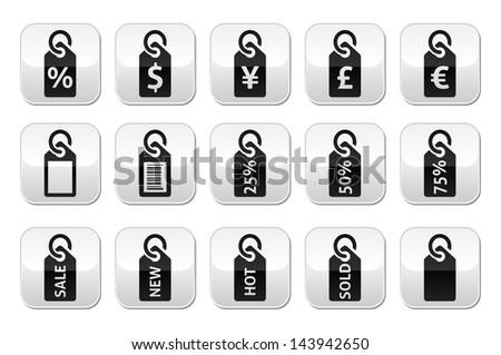 Shopping, price tag, sale vector buttons set - stock vector