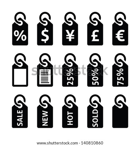 Shopping, price tag, sale vector icons set - stock vector