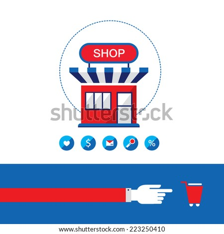 Shopping process. Shop, buy and sell your products. Online business concept.  Vector illustration - stock vector