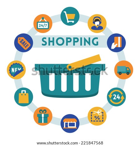 Shopping related vector infographic, flat style - stock vector