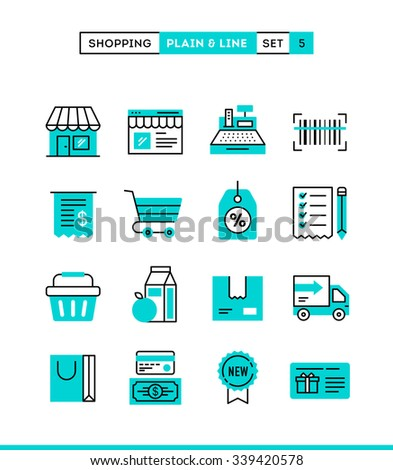 Shopping, retail, delivery, gift card, discount and more. Plain and line icons set, flat design, vector illustration - stock vector