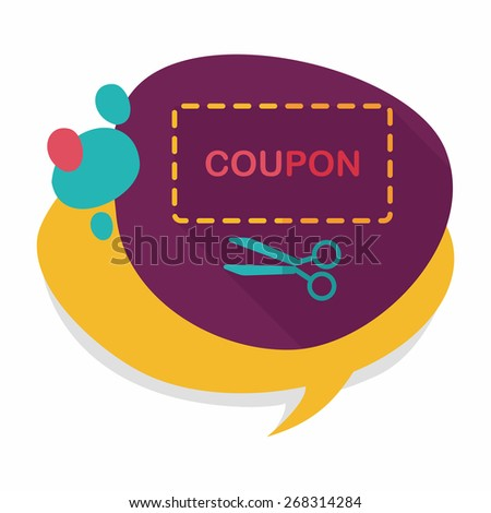 shopping sale coupon flat icon with long shadow,eps10 - stock vector