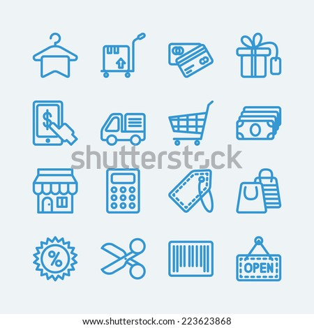 Shopping,sale line icons. Vector EPS10  - stock vector