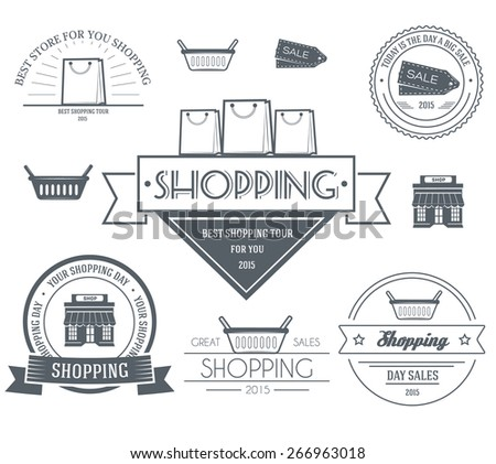 Shopping set label template of emblem element for your product or design, web and mobile applications with text. Vector illustration with thin lines isolated icons on stamp symbol.  - stock vector