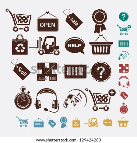Shopping set of icons - stock vector