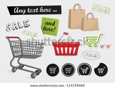 Shopping set, shop icons, basket, online shopping and sale - stock vector