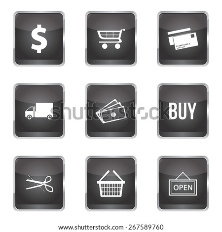 Shopping Sign Square Vector Black Button Icon Design Set