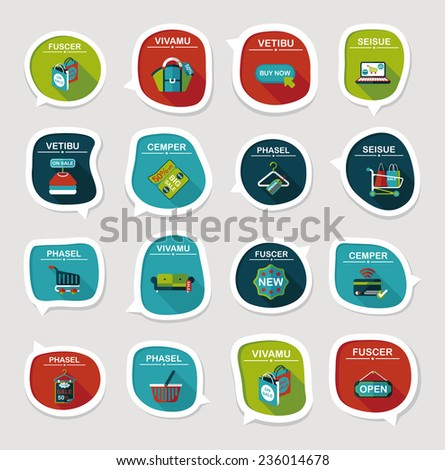 shopping speech bubble flat design background set, eps10