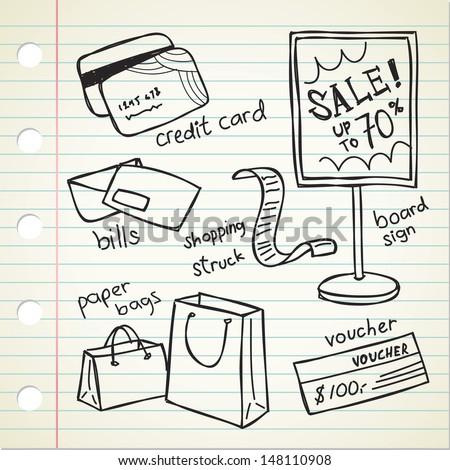 shopping spree doodle - stock vector