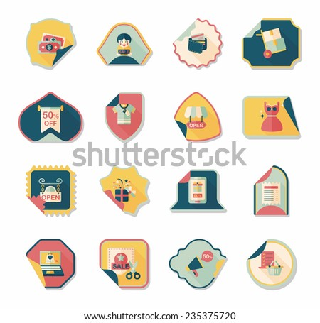 shopping sticker banner flat design background set, eps10